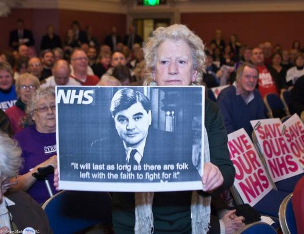 A rally against NHS privatisation: Early protests managed to pause the legislation - but not kill it