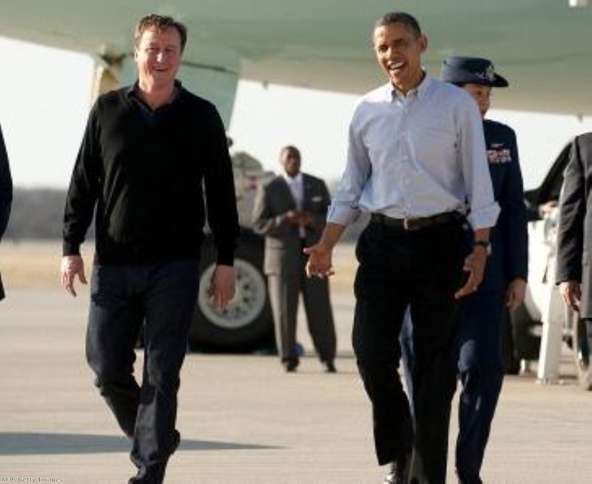 After yesterday's basketball, it's down to business for Cameron and Obama