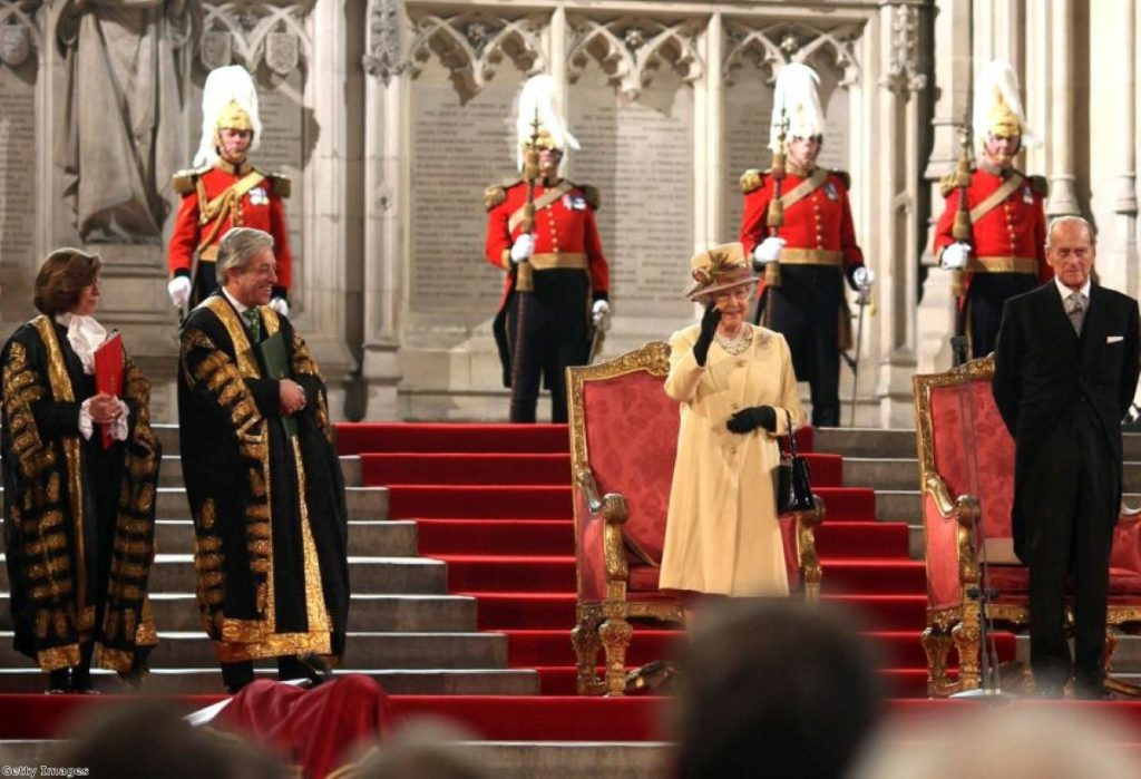 The Queen receives the loyal addresses from the Lords and Commons