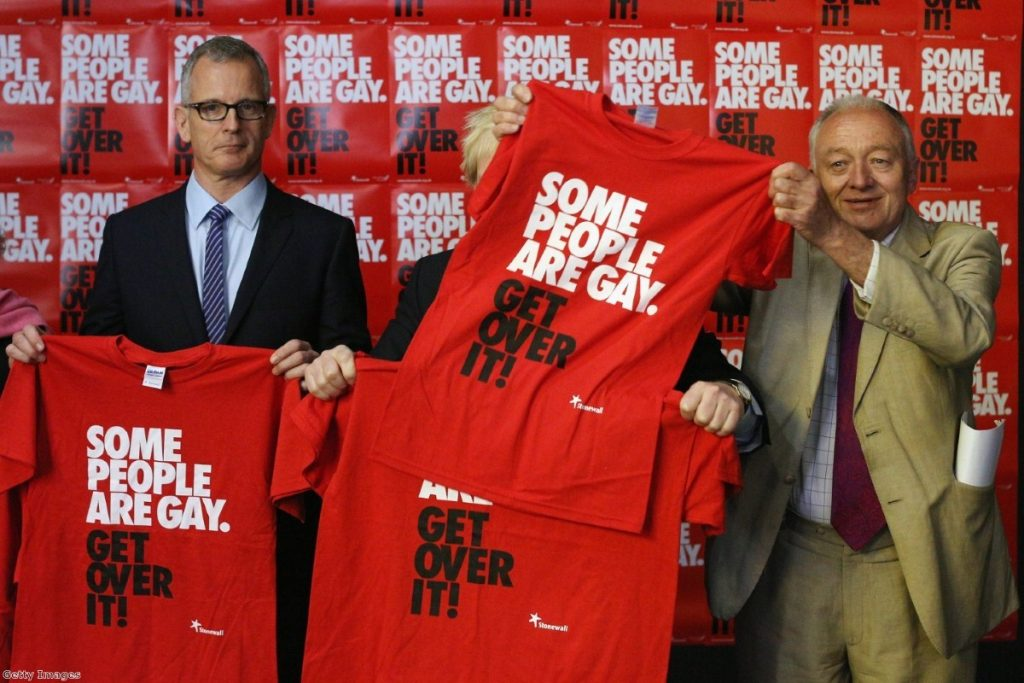 Ken jokingly covers up Boris' face with a Stonewall T-shirt during a hustings event last week.