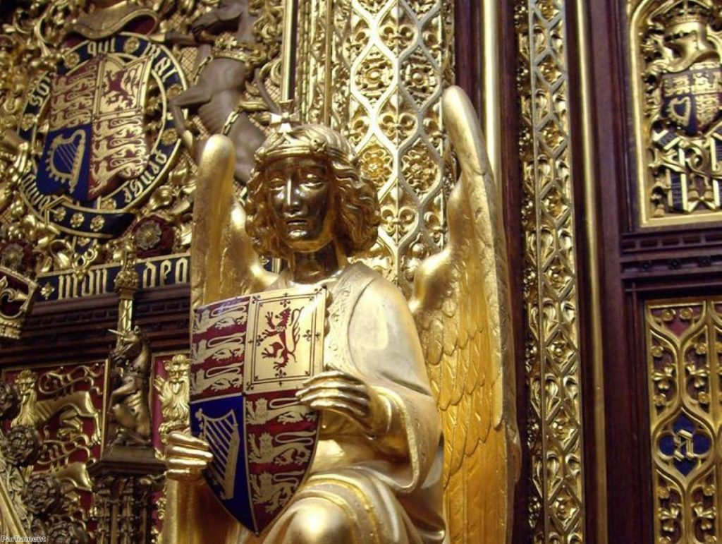 An angel looks on from the House of Lords throne