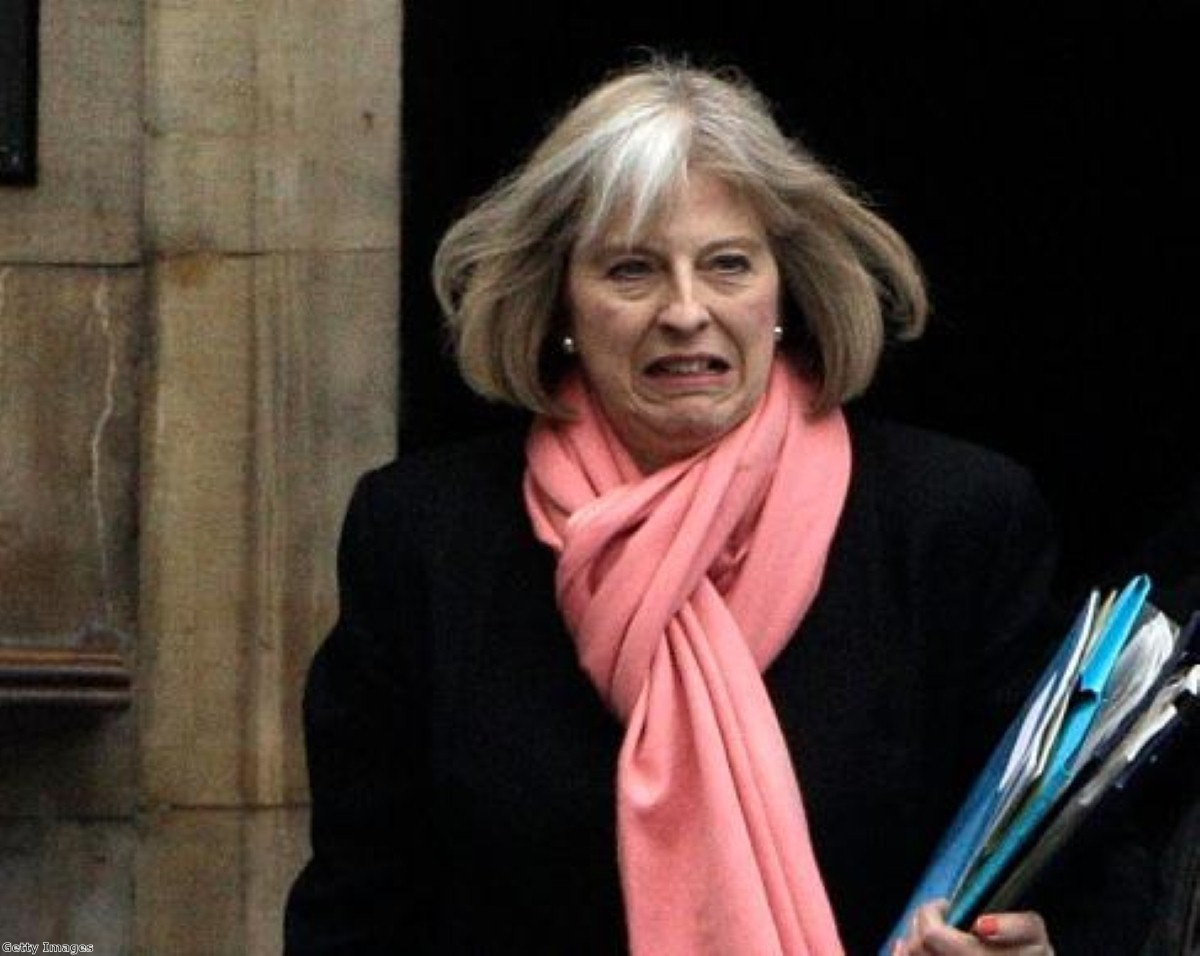 Theresa May braves police officers