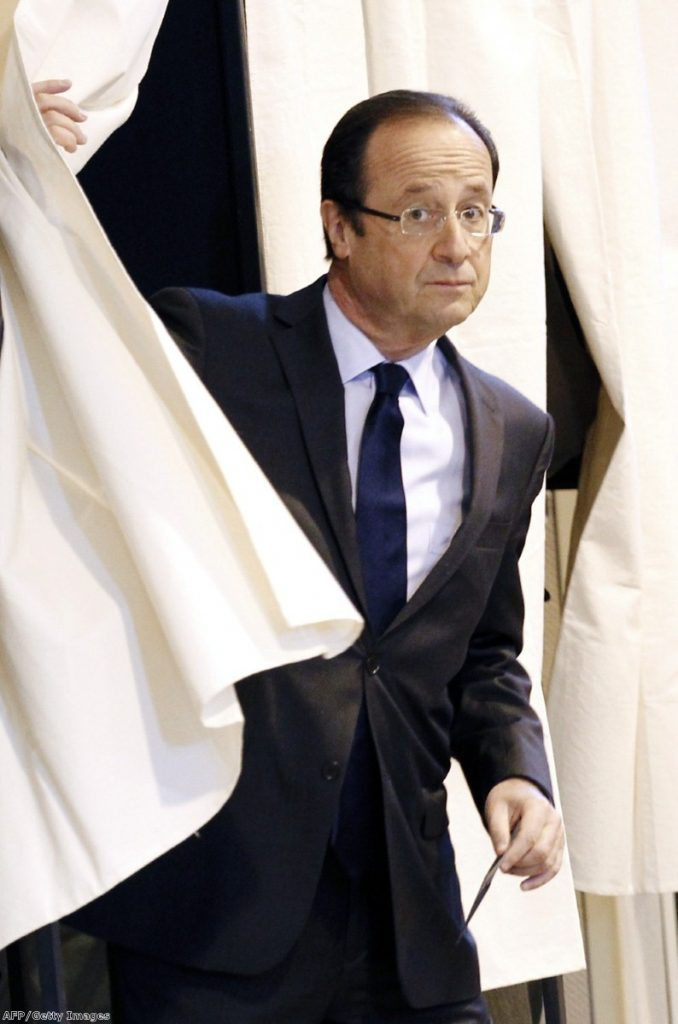 Francois Hollande casts his ballot during the first round of the election.