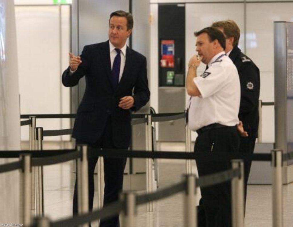 David Cameron inspects UK border controls at Heathrow airport
