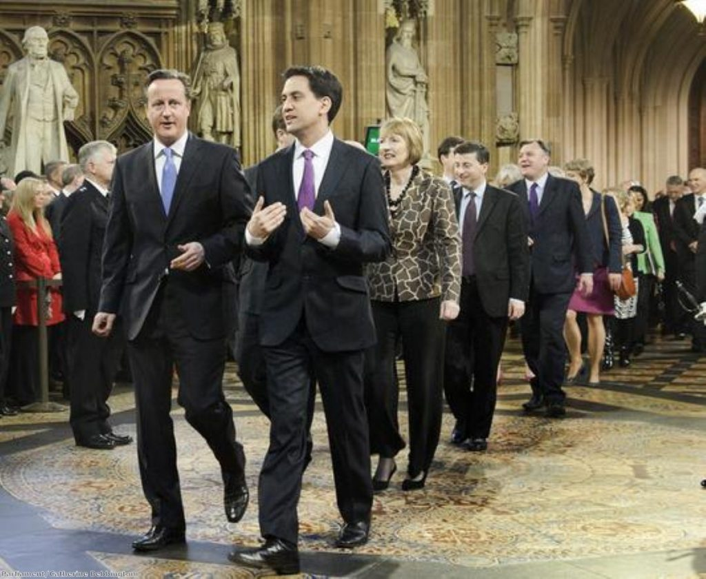 David Cameron and Ed Miliband lead the Commons to hear the Queen's Speech