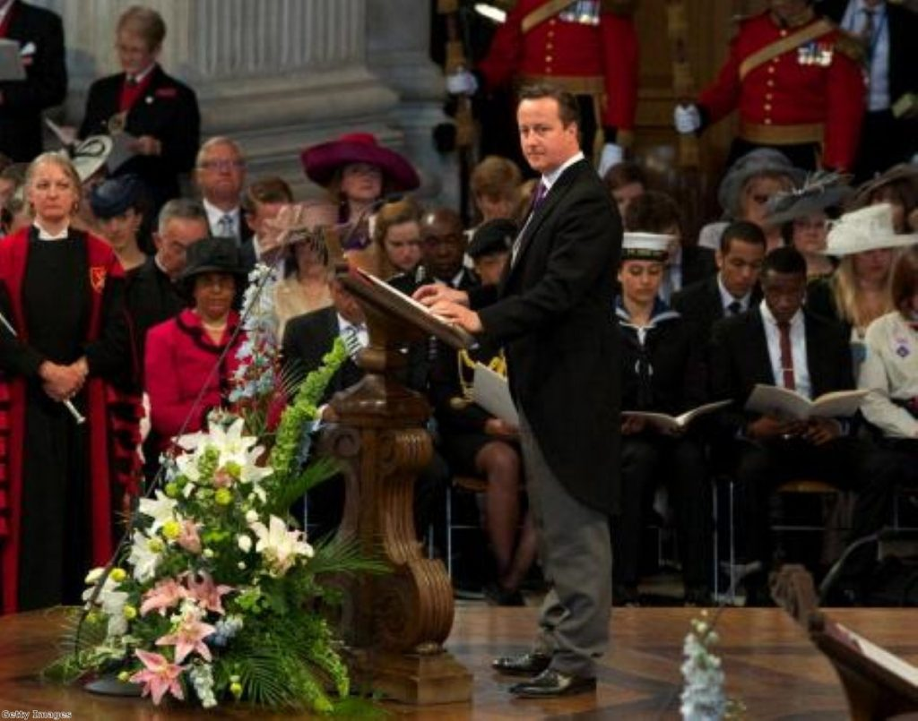 David Cameron at Tuesday's Service of Thanksgiving