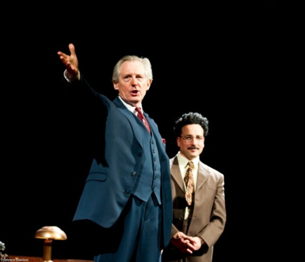 Patrick Drury (l) as Willy Brandt and Aidan McArdle as Gunter Guillaume in Democracy