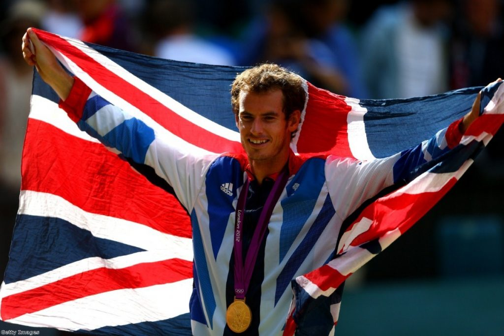 Andy Murray sports the Union Jack after the Olympics tennis final