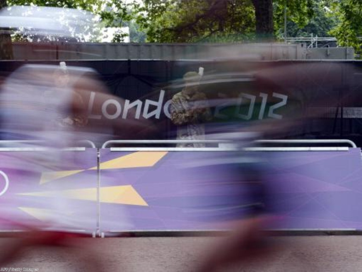 A British Army soldier provides security during the Olympic Games