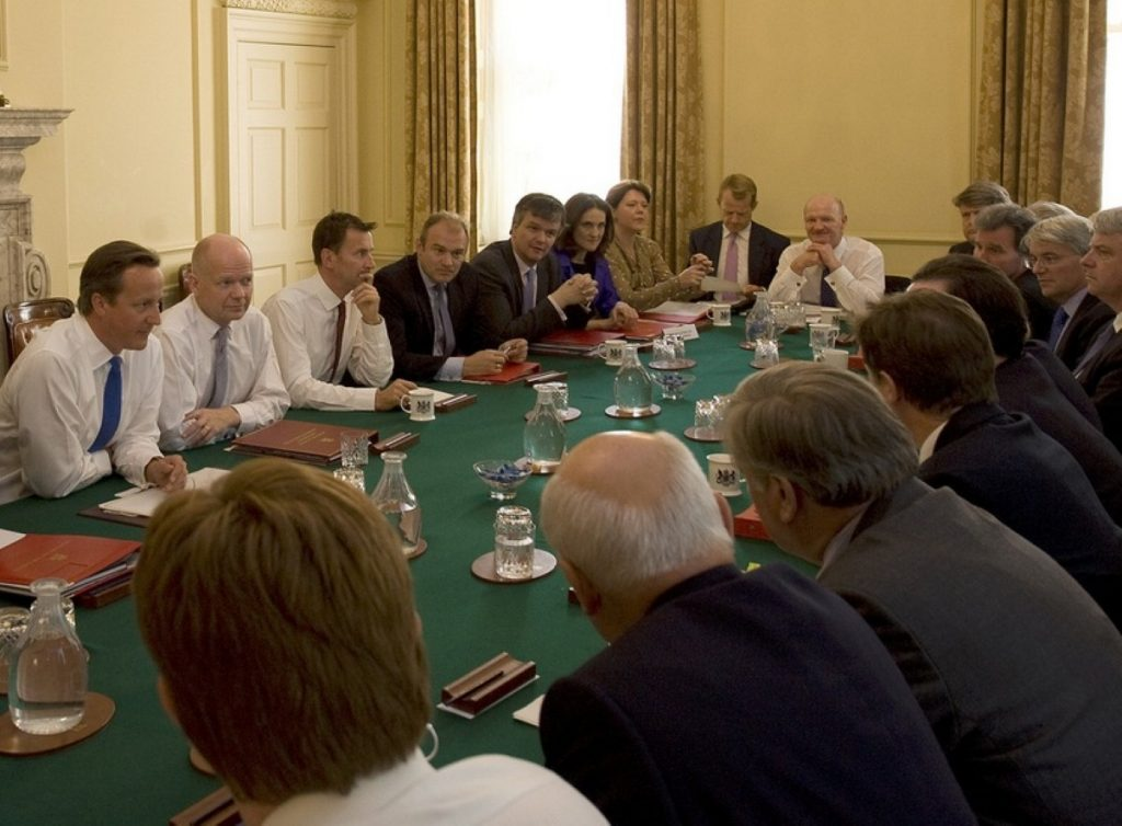 Cameron's new Cabinet meets to discuss the future of the coalition
