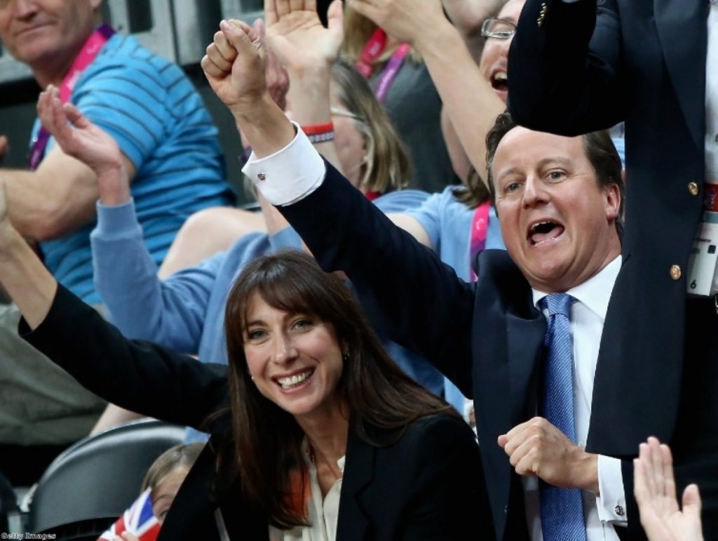 David and Samantha Cameron cheer on Paralympic GB at the wheelchair rugby