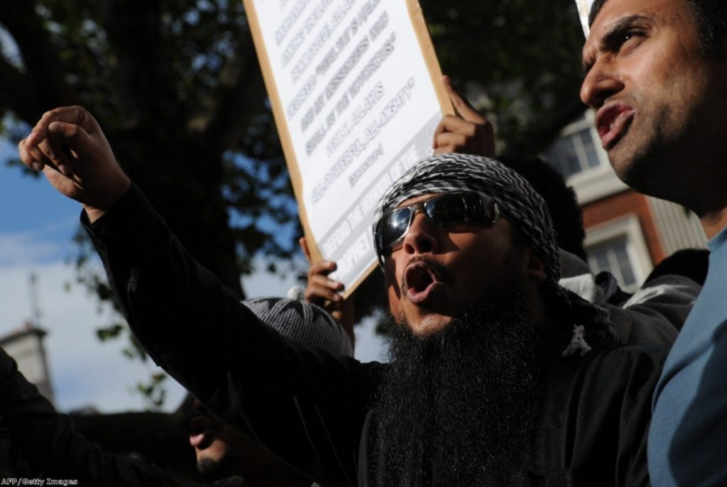 Protesters gathered at Regents Park mosque before heading to the US embassy to protest over the film.