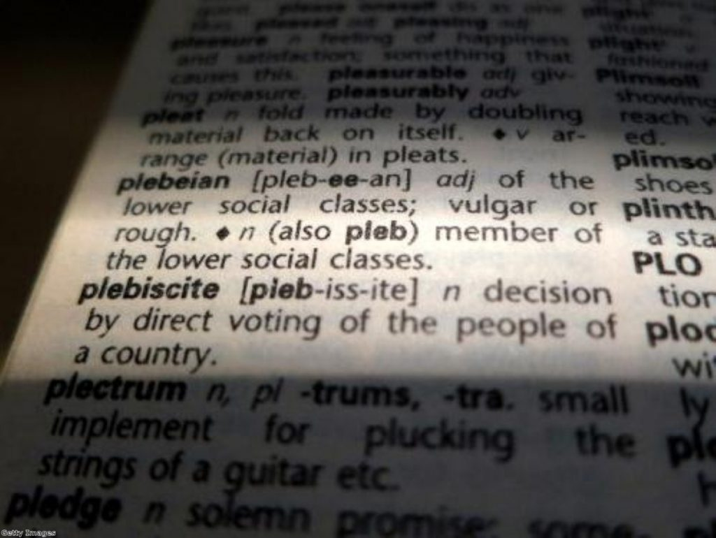 Andrew Mitchell denied using the world 'pleb' to describe a 'member of the lower social classes'