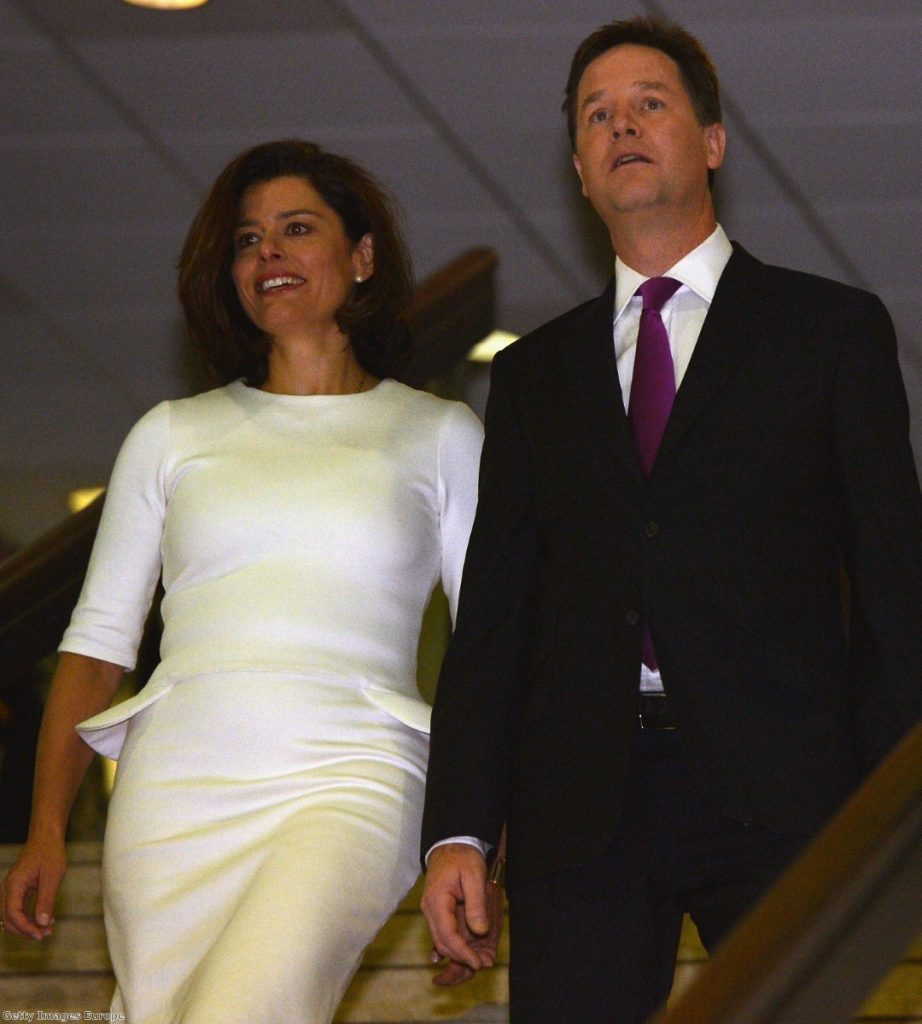 Nick Clegg and his wife Miraim Gonzalez Durantez arrive for the leader speech to the Liberal Democrat conference