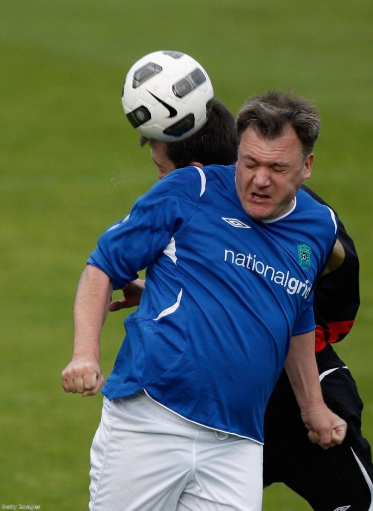 Ed Balls gets stuck in during a previous lobby vs Labour MPs game.