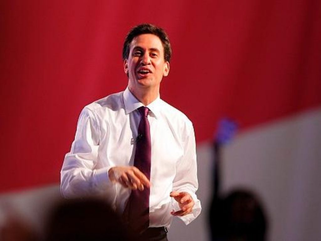 Ed Miliband during a Q&A session, exhibiting the sex symbol qualities loved by women across Britain.
