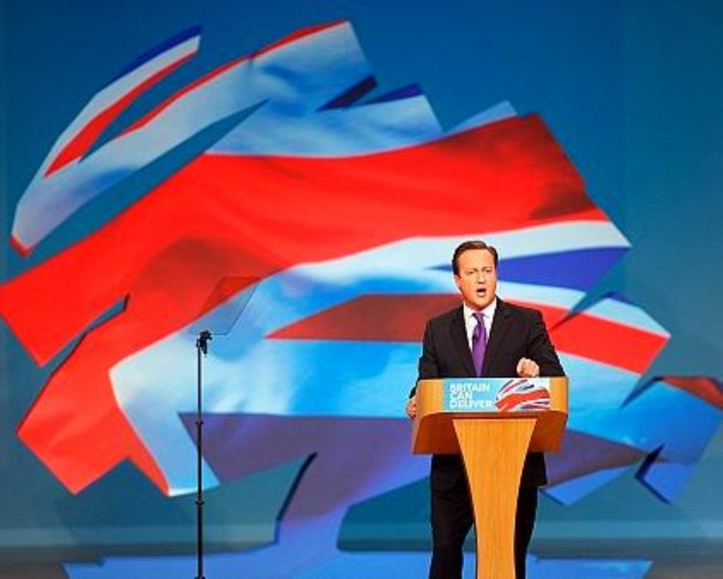 David Cameron addressing his party in Manchester