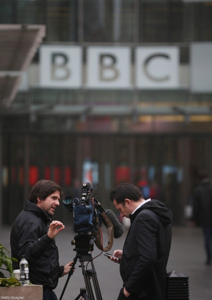 Cameras outside the BBC as the Savile row continues