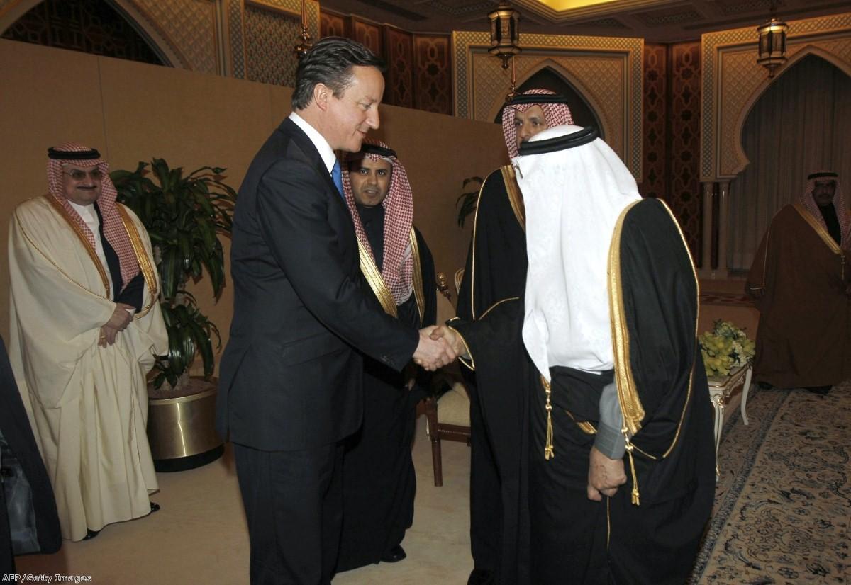 Saudi's Prince Nayef bin Abdul Aziz al-Saud welcomes David Cameron when they met in Riyadh last January.