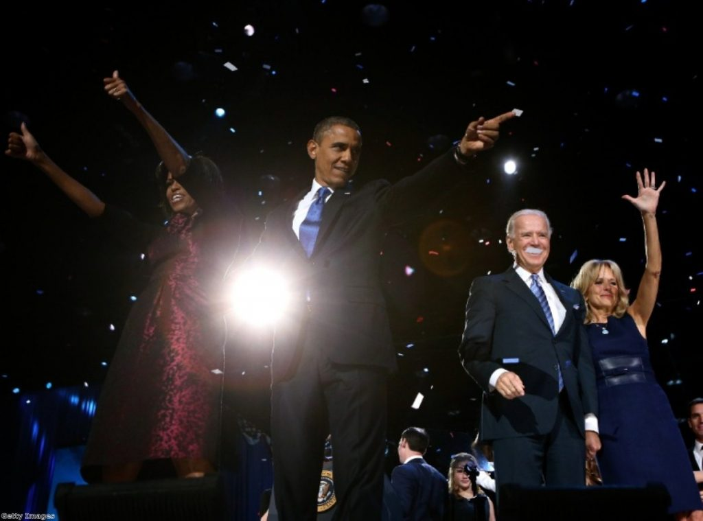 Barack Obama, Joe Biden and wives greet the crowds on election night