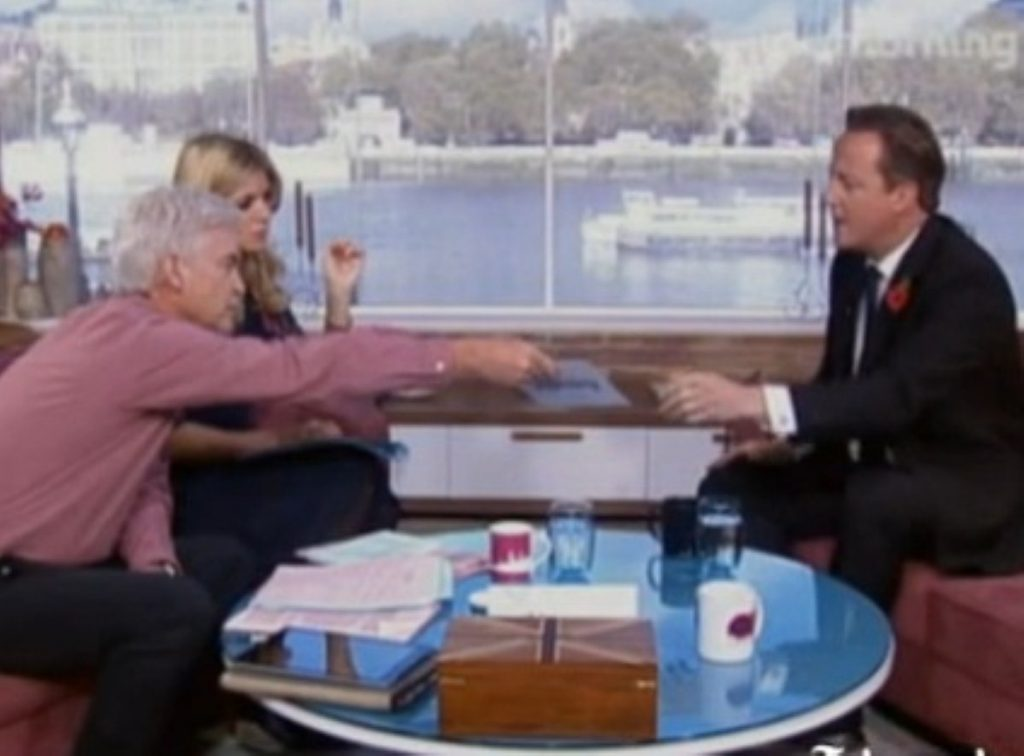 Philip Schofield 'ambushed' David Cameron with a list of alleged paedophiles