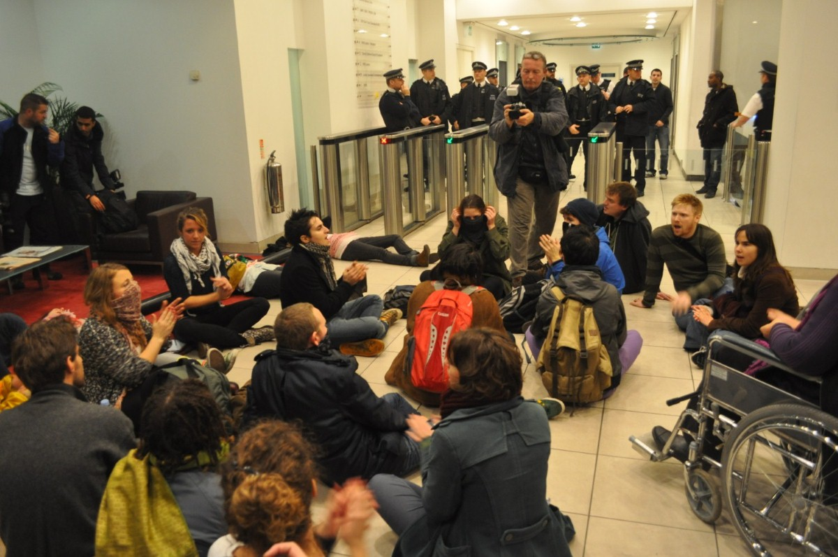 Protestors in the G4S building last night