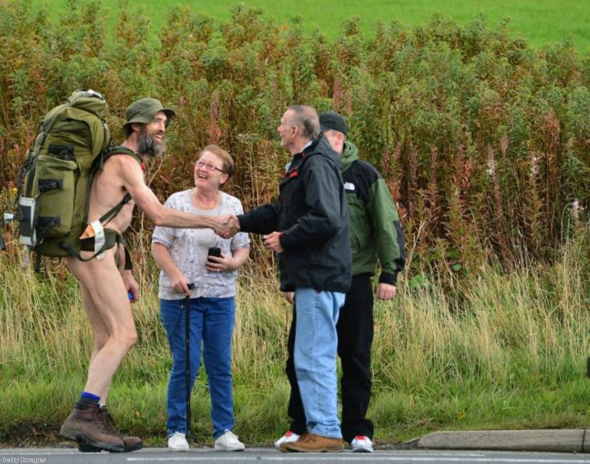 Today, another naked protester can be added to the list with the infamous 'Naked Rambler.'