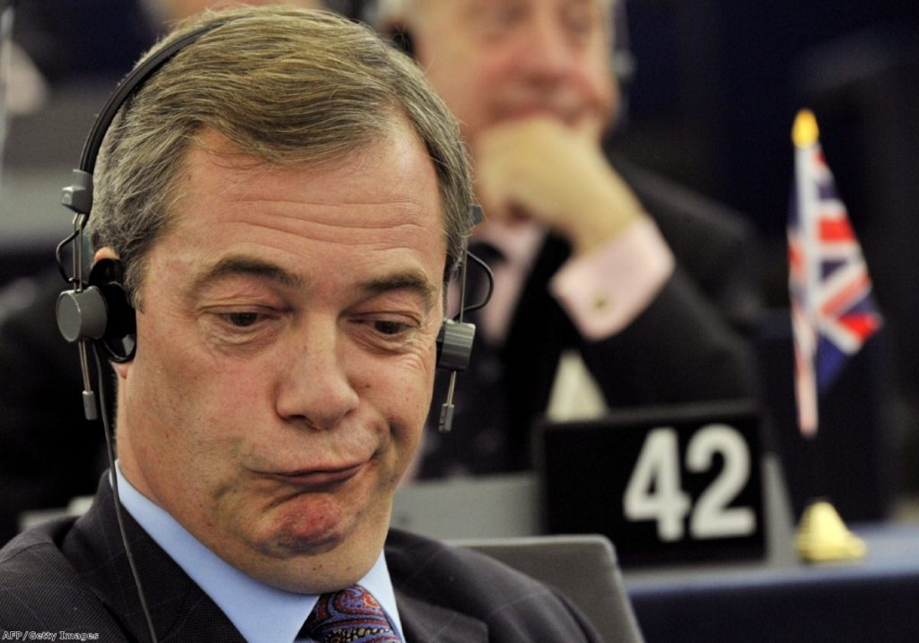 Nigel Farage in a typically enthusiastic mood in Brussels