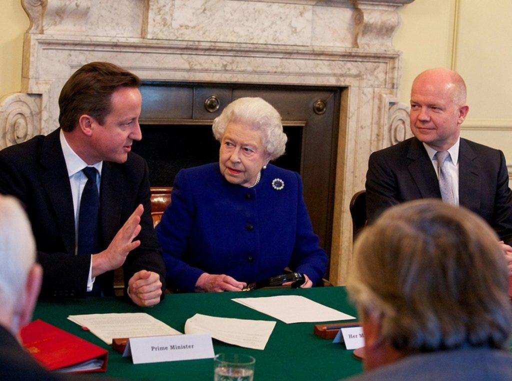 The Queen sat in David Cameron's seat for the meeting