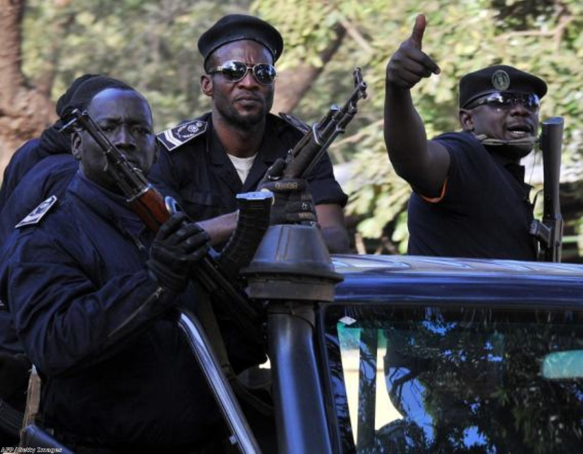 Police forces on patrol in Mali's capital, which nearly fell to rebel forces