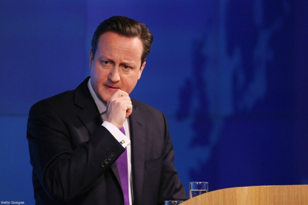 Cameron looked nervous and tired as he delivered his speech this morning