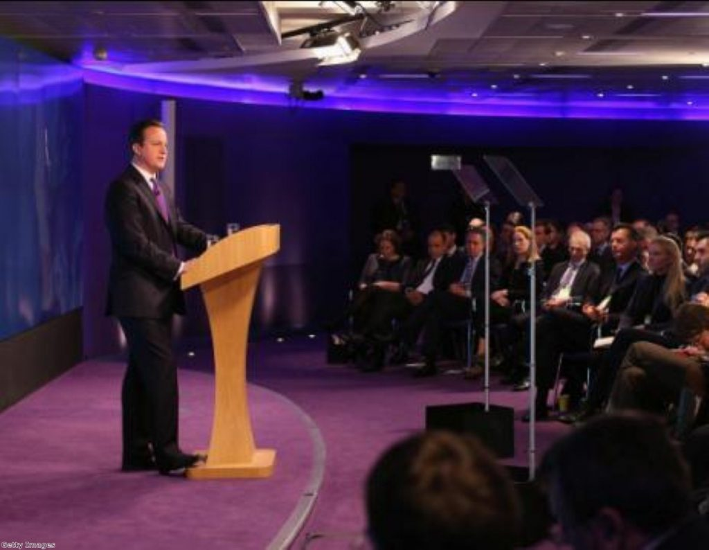 Cameron's audience included business chiefs, diplomats, ministers and reporters