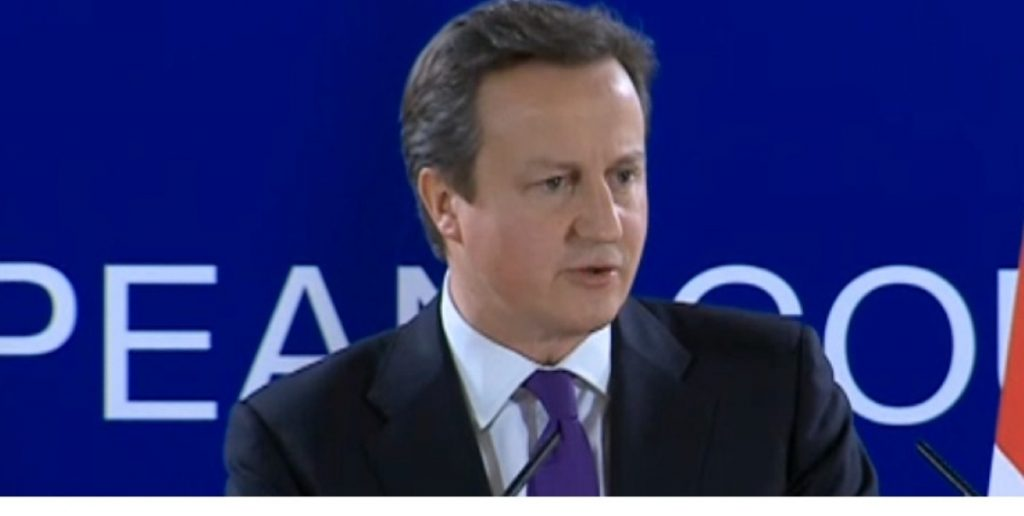 Cameron gives a press conference after negotiations.