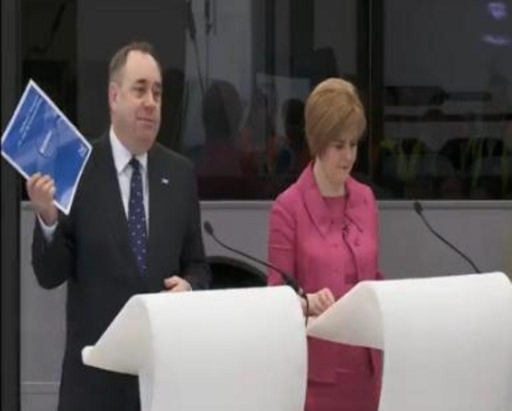 Alex Salmond and Nicola Sturgeon in Falkirk this morning