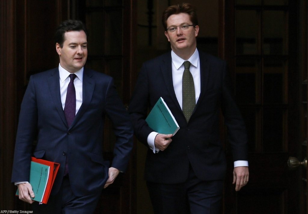 Danny Alexander chats with George Osborne in Whitehall. The pair have been accused of misleading the public on infrastructure spending