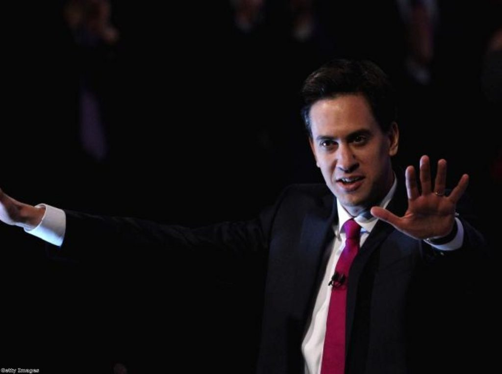 Ed Miliband takes on the unions, one hand gesture at a time