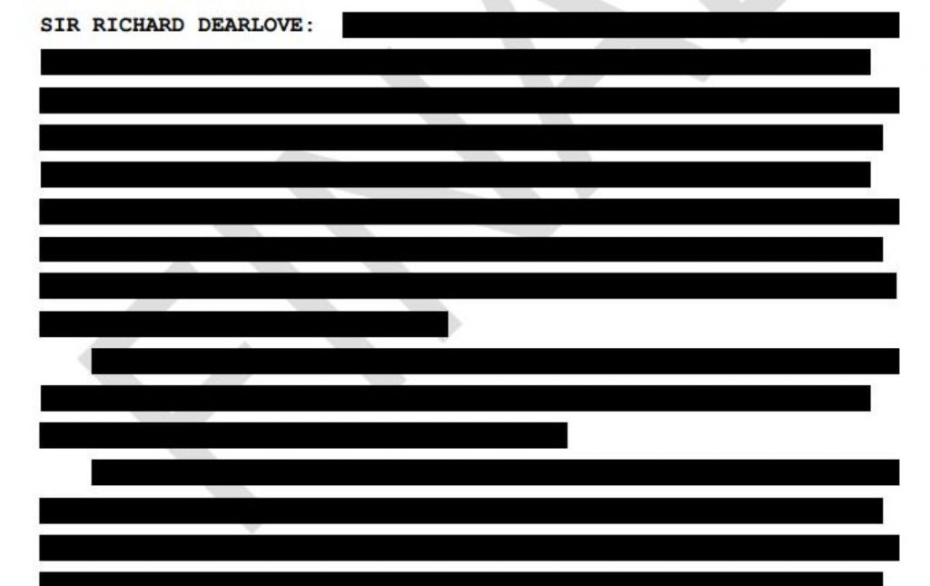 A page from the transcript to Sir Richard Dearlove's evidence to the Iraq inquiry