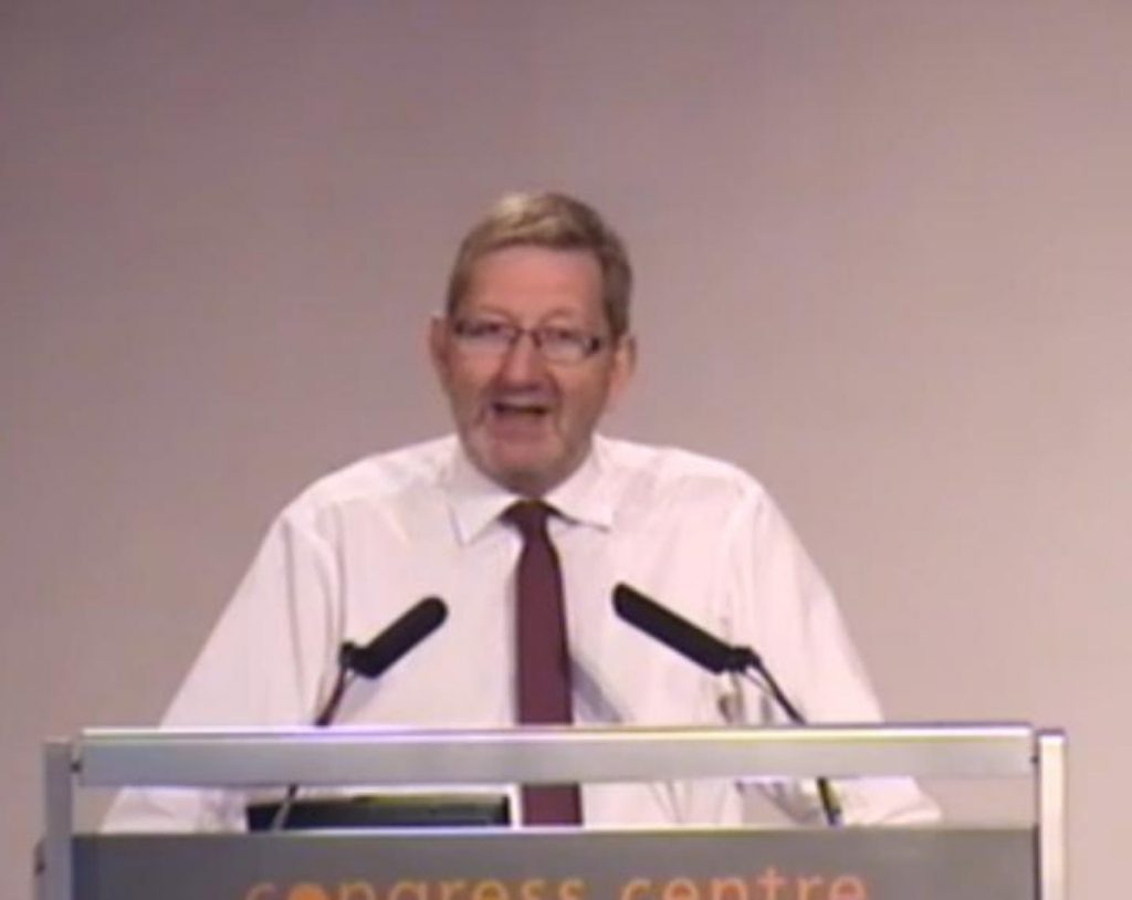 "Len McCluskey told a meeting of Unite representatives and activists he would not support a ""pinkish"" Labour"