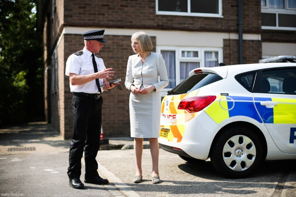 Theresa May visits Hertfordshire earlier this month. The immigration crackdown comes months after she took direct control of UKBA.