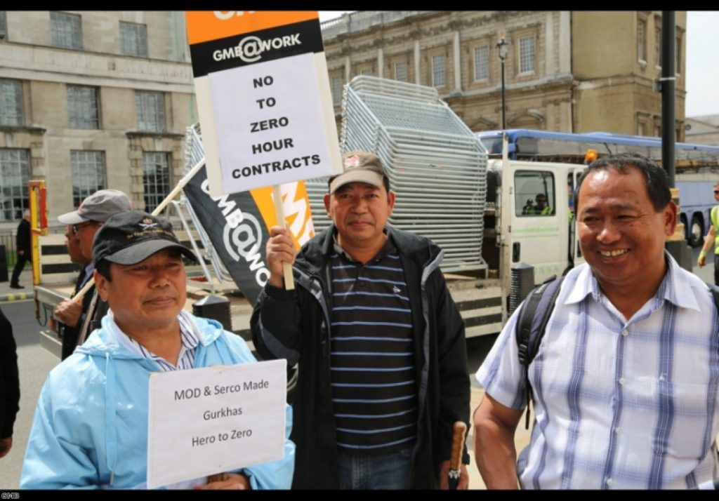 Former Gurkhas protest against zero hour contracts