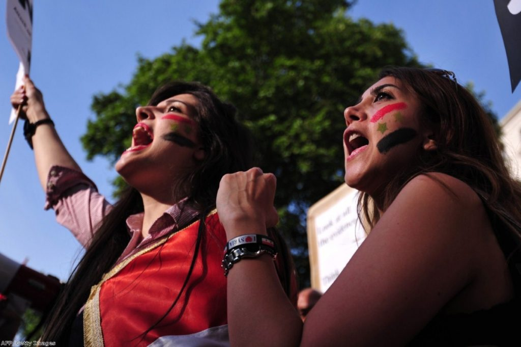 Women take part in a protest against intervention in Syria. The threat of western involvement faded after a Commons vote.