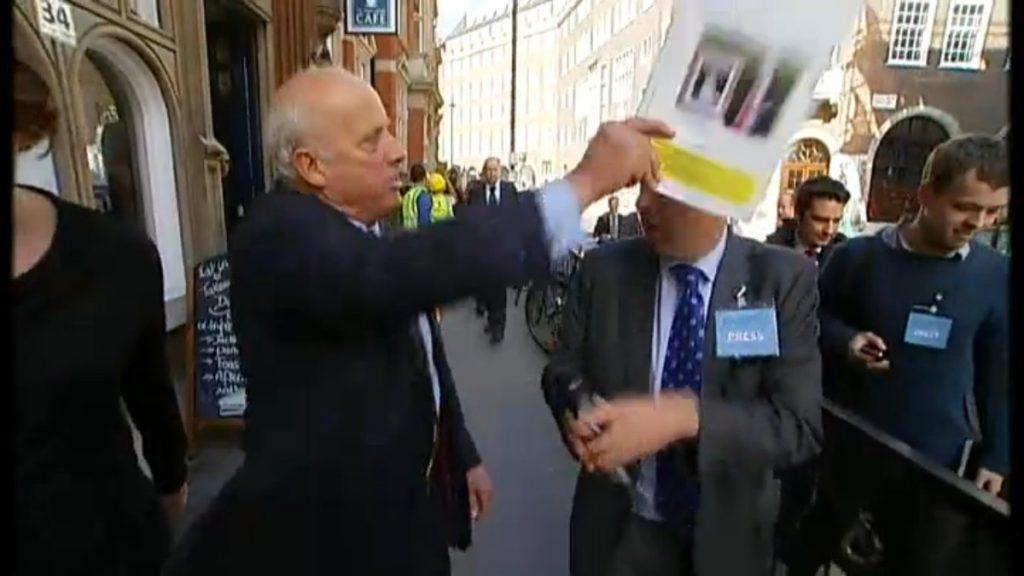 Godfrey Bloom hits Michael Crick with a Ukip brochure