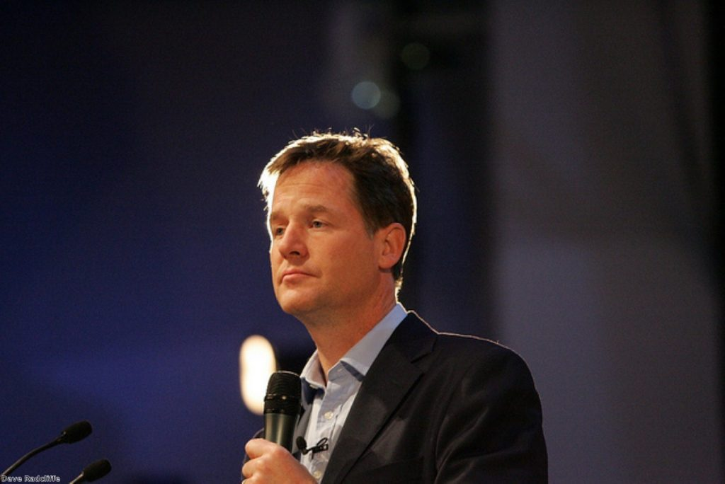 Nick Clegg answering questions in Glasgow
