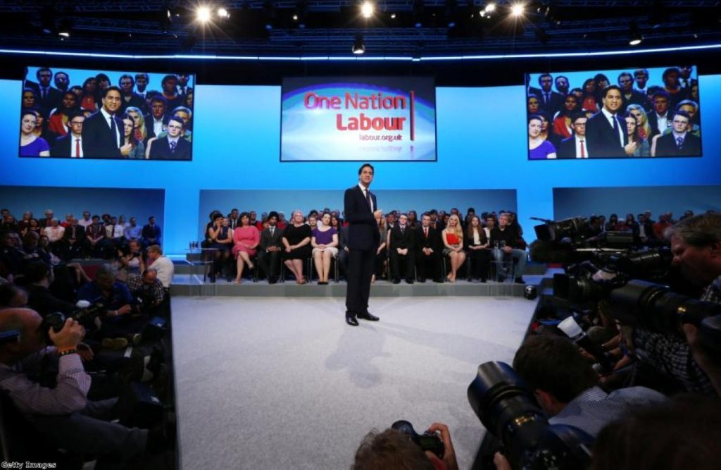 Ed Miliband delivering his conference speech in Brighton today