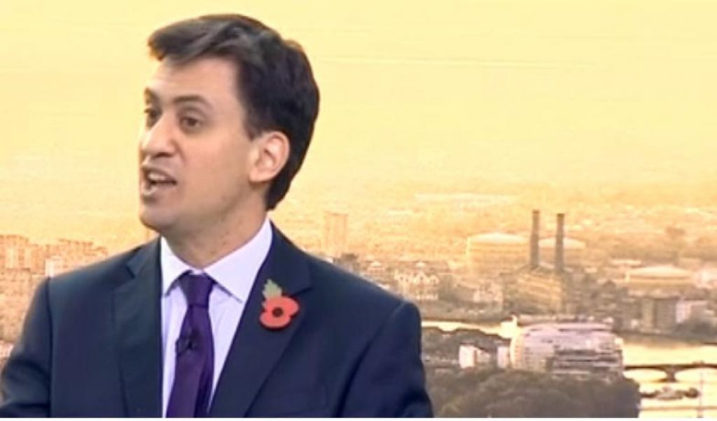 Ed Miliband delivering hiscost of living speech in Battersea Power Station