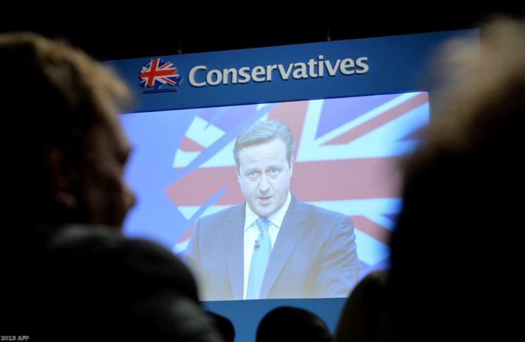 David Cameron addresses party supporters at his autumn conference