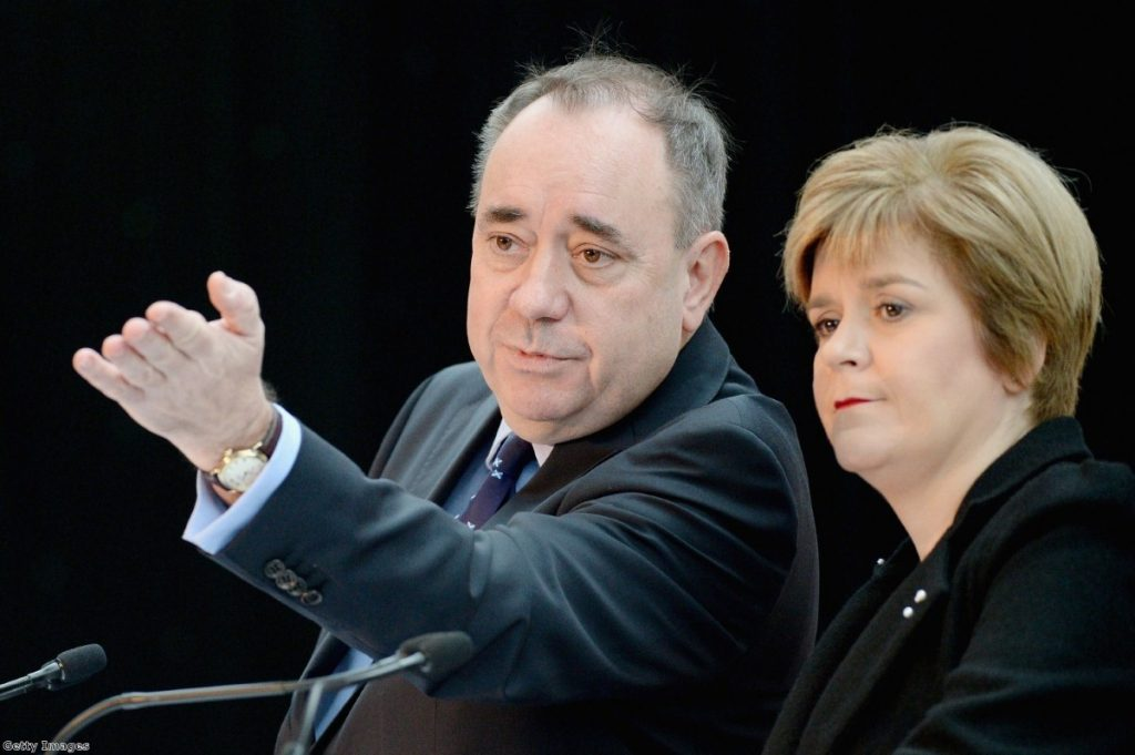 Alex Salmond and Nicola Sturgeon at today's press conference.
