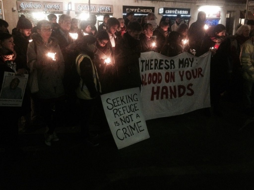 Protesters congregate at the Home Office this evening. Photo credit: Guy Taylor, JCWI