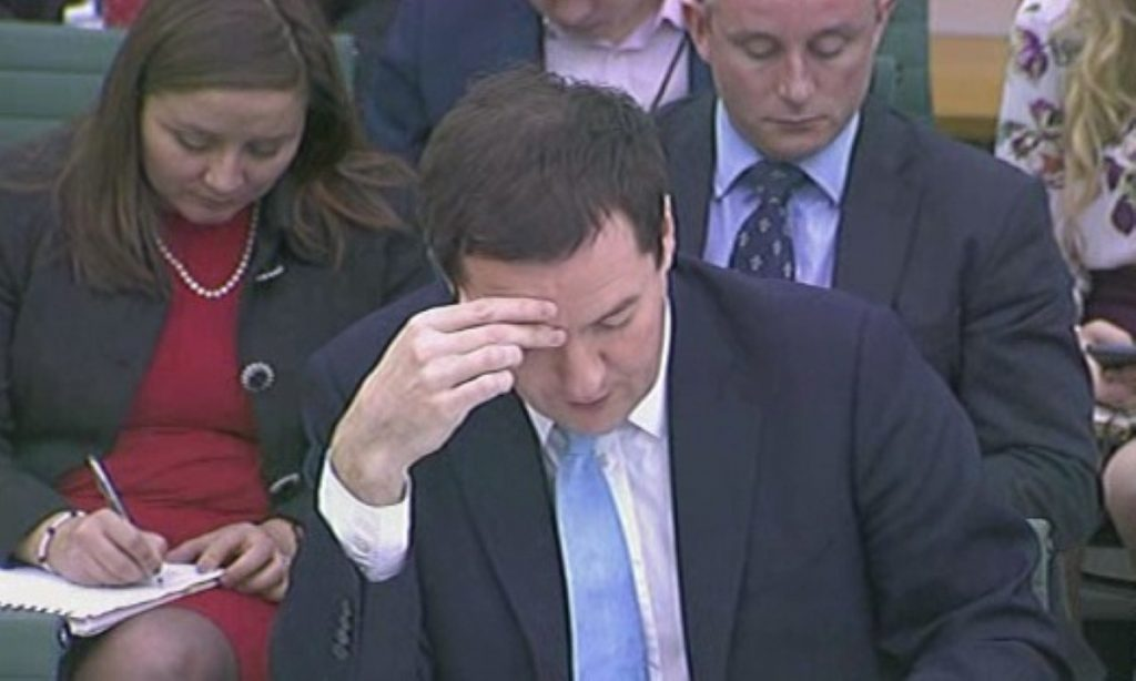 George Osborne giving evidence to the Treasury select committee on the 2013 autumn statement