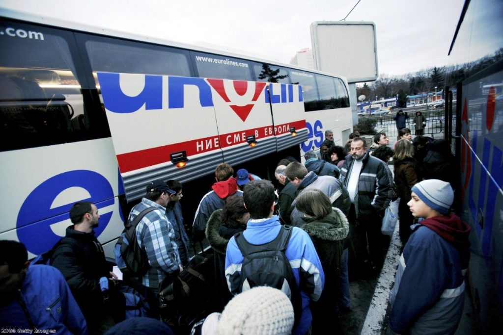 Bulgarians board a bus to Berlin, soon after the country joined the EU.